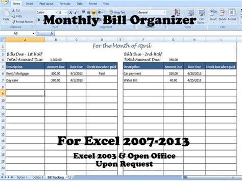 Monthly Bill Organizer Bill Tracker Calculates Total Due Bill Spreadsheet Template