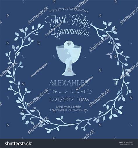 blue boys holy communion invitation stock vector