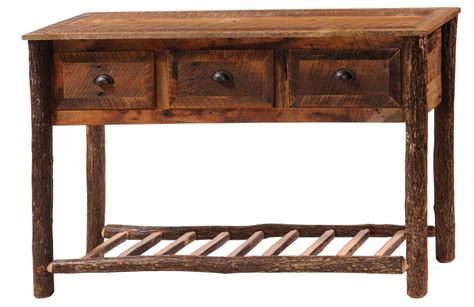 sofa table with drawers and shelf 3 drawers console table with hickory legs shelf from