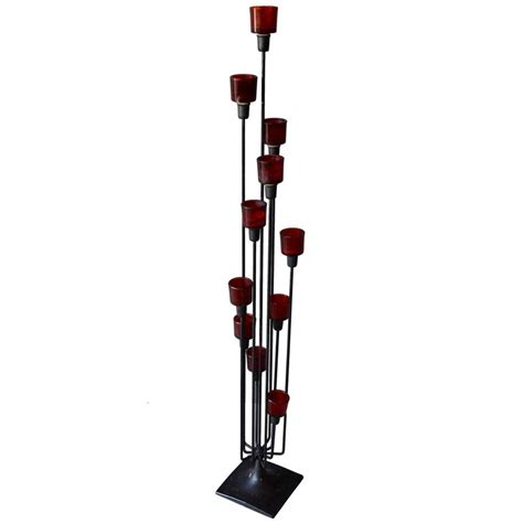 Glass Floor Candle Holders Iron And Glass Floor Candelabra For Sale At 1stdibs