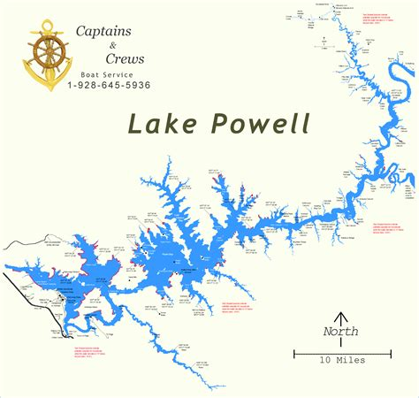 lake powell map map of lake powell captains and crews