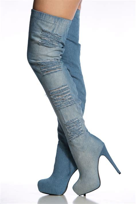 distressed denim thigh high platform boots cicihot boots