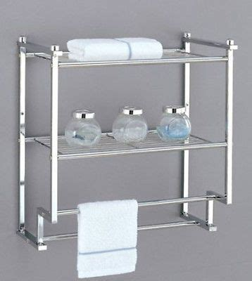 Bathroom Space Saver With Towel Bar 2 Tier Towel Shelf Organize Rack Chrome 2 Bar Storage