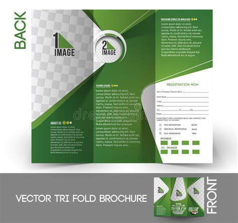tri fold brochure design layout download golf tournament tri fold brochure stock vector