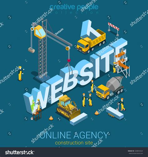 3d drawing website flat 3d isometric style website building stock vector