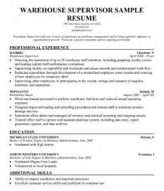 warehouse supervisor sample resume warehouse supervisor resume
