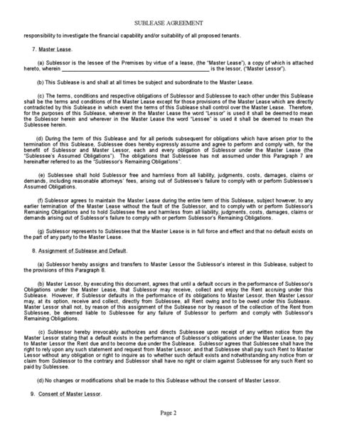subletting lease agreement template california sublease agreement california property