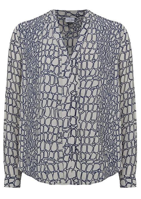 G J Sleeve Pleated Top Vv 917 mercy delta fyne moc croc silk blouse midnight