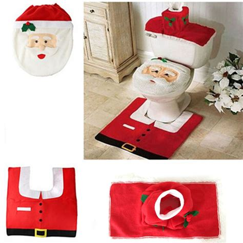 santa claus bathroom set fashion 3pc set christmas santa claus bathroom toilet