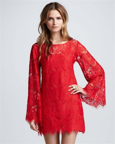 Bell Sleeve Lace Dress stassi lace bell sleeve dress in lyst