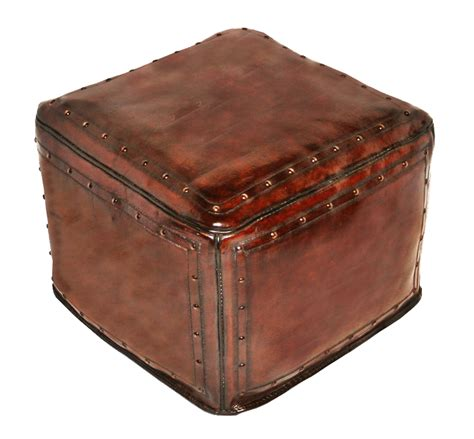 antique leather ottoman tooled leather large square ottoman with tacks in antique