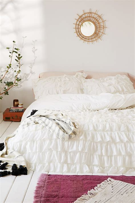 ruffle bedding waterfall ruffle duvet cover urban outfitters