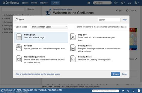 confluence template confluence blueprints atlassian developers
