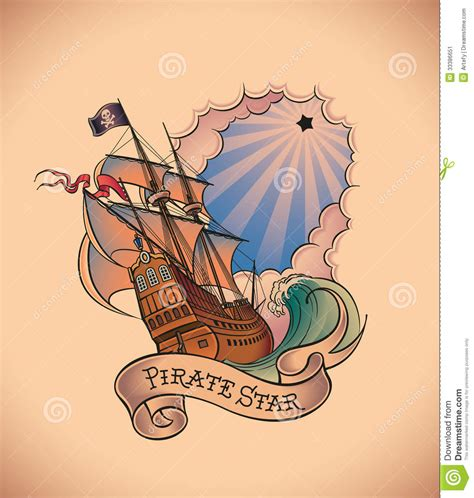 tattoo pirate cartoon old school tattoo pirate star stock vector image 33386651