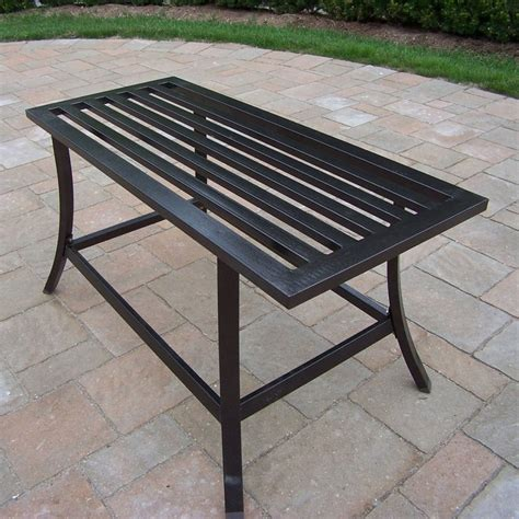 Wrought Iron Patio Coffee Table Shop Oakland Living Rochester Wrought Iron Rectangle Patio Coffee Table At Lowes