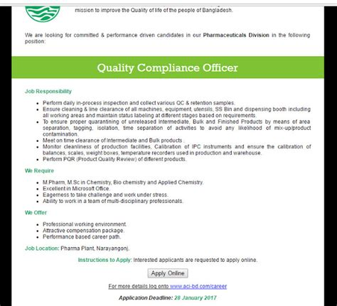 bank compliance officer description aci limited post quality compliance officer
