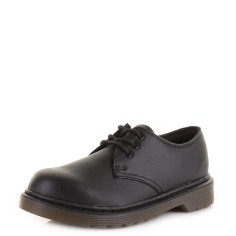 boys dr martens everley black softy leather
