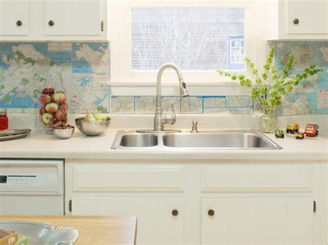 creative and easy diy maps kitchen backsplash ideas