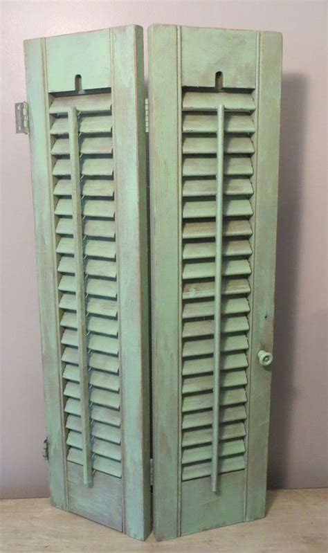 Wooden Louvered Shutters Interior by Vintage Wooden Louvered Sea Foam Mint Shutters