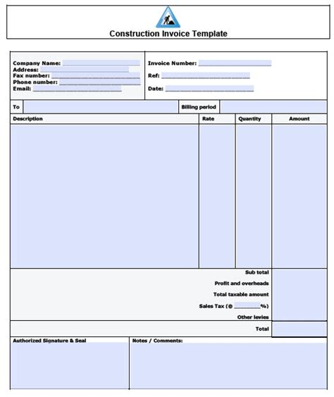 invoice template for builders free construction invoice template excel pdf word doc