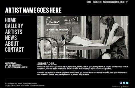 New Website Template For Artists Photographers Artist Web Template