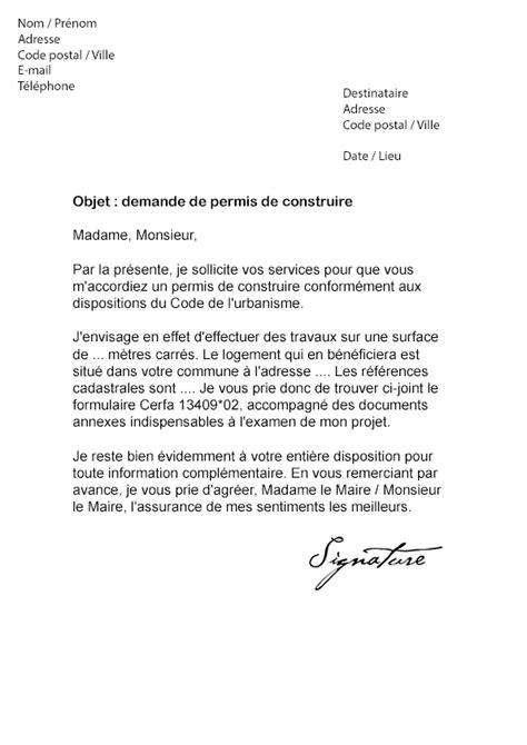 Exemple De Lettre De Demande De Qualification lettre de demande de permis de construire mod 232 le de lettre