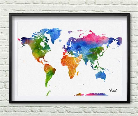 watercolor world map print gif for home decor wall hanging