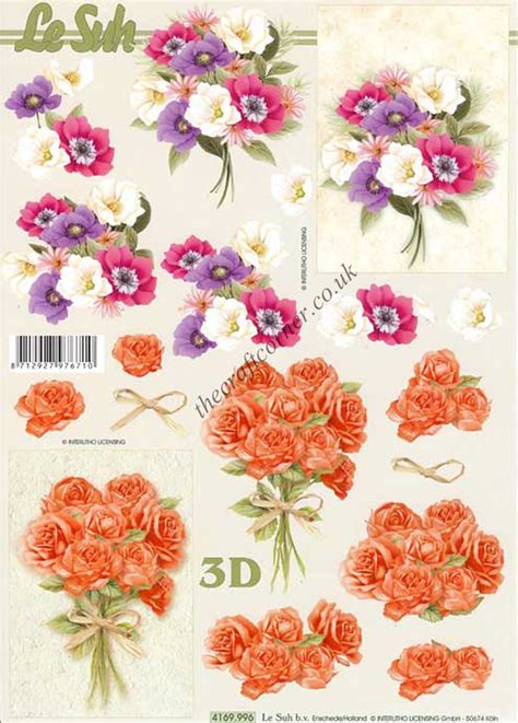 Floral Decoupage - flower bouquet 3d decoupage sheet from le suh