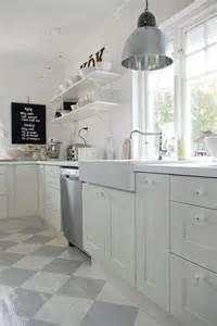 Painted Kitchen Floors Swoon Gorgeous Swedish Kitchen With White Cabinets Open Shelving Farmhouse Sink Ikea
