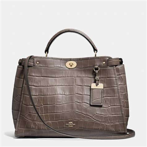 Coach Emboss coach official site official page gramercy satchel in croc