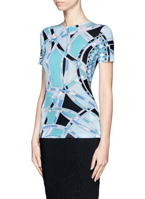 Emilio Pucci Roscone Print T Back Top It Or It by Lyst Emilio Pucci Sleeve Print T Shirt In Blue