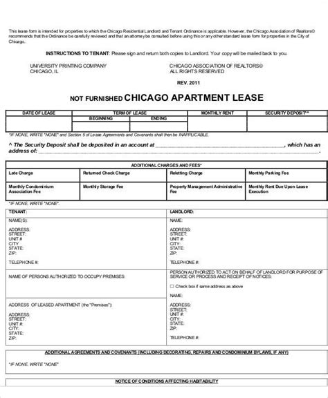 37 Lease Agreements In Pdf Sle Templates Chicago Residential Lease Template