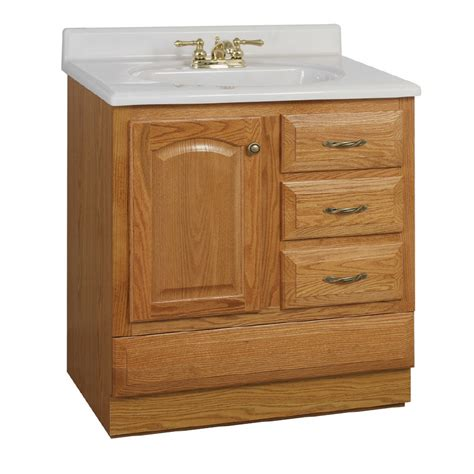 Bathroom Vanity With Bottom Drawer Shop Project Source 30 Quot Oak Elegance Bottom Drawer Traditional Bath Vanity At Lowes