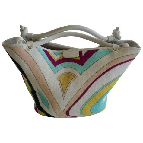 Pucci Terry Tote by Emilio Pucci Terry Cloth And Leather Tote Bag At 1stdibs