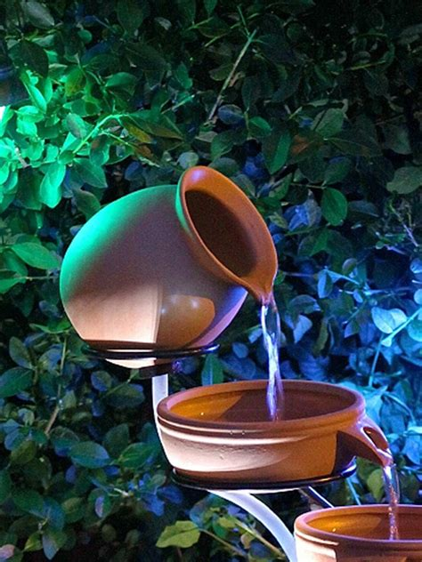 solar water features with lights solar powered terracotta cascade with led light water