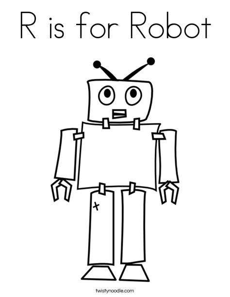 coloring pages for robot r is for robot coloring page twisty noodle