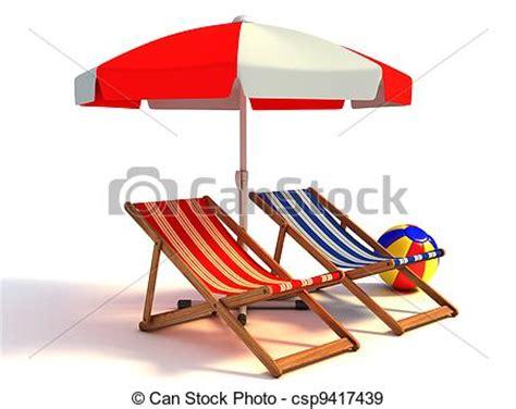 Banco de ilustração de cadeiras, sob, praia, guarda sol