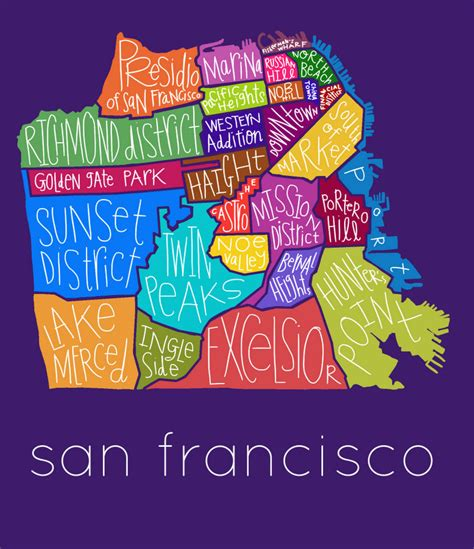san francisco neighborhood map poster san francisco neighborhoods print san