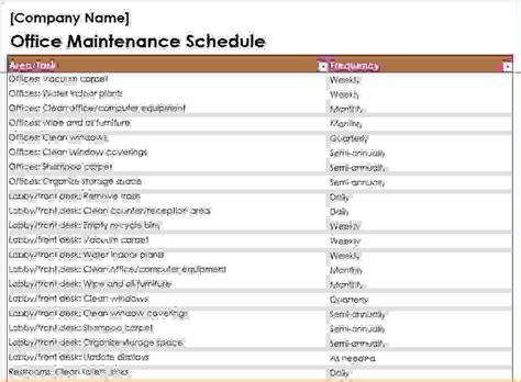 7 Building Maintenance Checklist Procedure Template Sle Building Maintenance Budget Template