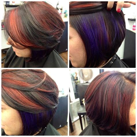 blended stacked hairstyles red highlights vibrant purple highlights chunky