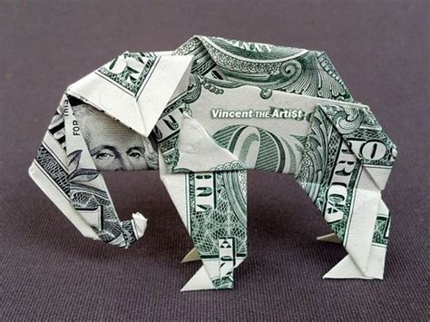 Elephant Money Origami - dollar bills origami and origami animals on