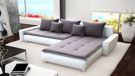 grey and white corner sofa large white faux leather grey fabric corner sofa