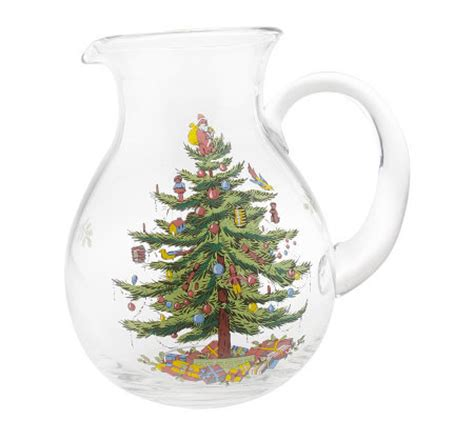 spode christmas tree 96oz glass pitcher page 1 qvc com