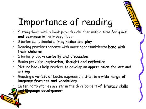 Importance Of Reading Essay by Reading With Your Child Information Parents Ppt