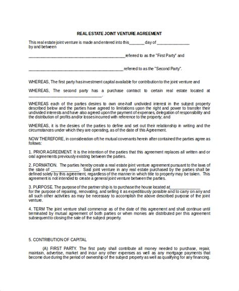 joint use agreement template joint venture agreement 9 free word pdf documents
