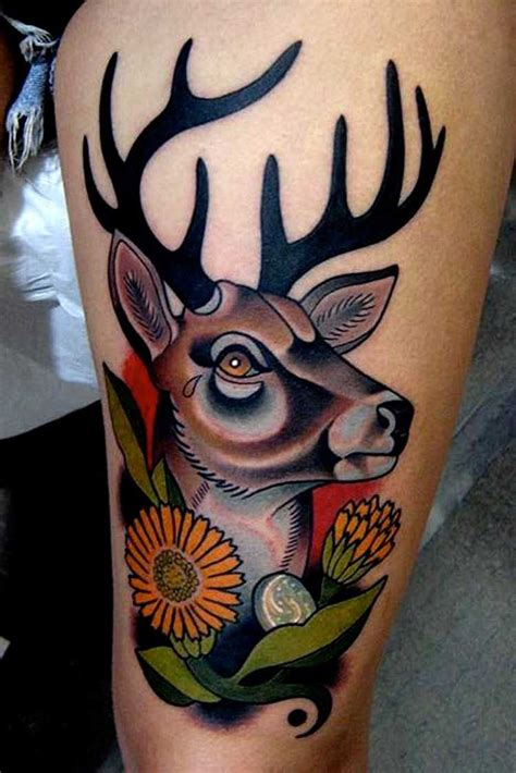 traditional deer tattoo traditional deer animal tattoos