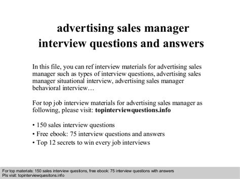 advertising sales manager questions and answers