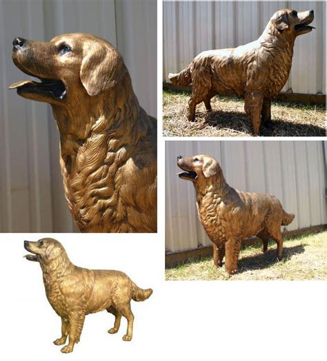 golden retriever statue golden retriever size bronze statue