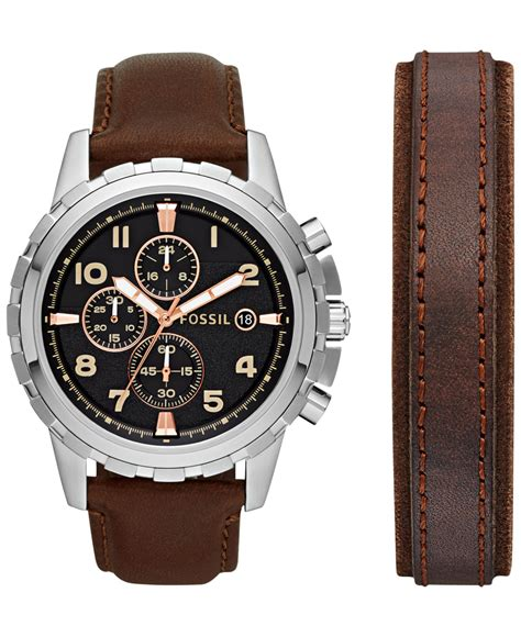 Fossil S221143 Black Drakbrown Leather lyst fossil s chronograph dean brown leather