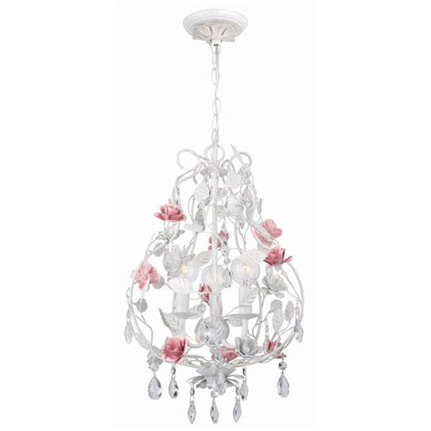 Small Pink Chandelier small lola antique white with pink accents chandelier by
